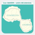 Isla Ometepe Pegatina Cuadrada