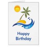 Isla, palma, mar y Sun Felicitación