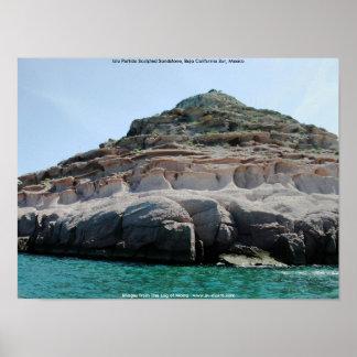 Isla Partida Sculpted Sandstone Baja California Su Poster