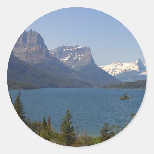 Isla salvaje del ganso en el lago st Mary en el gl Etiquetas