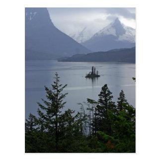 Isla salvaje del ganso en Parque Nacional Glacier Tarjetas Postales