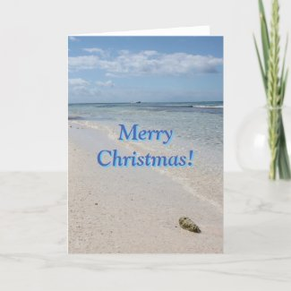 Isla Saona Caribbean Beach Merry Christmas! Holiday Card