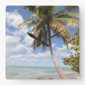Isla Saona - Palm Tree at the Beach Square Wall Clock