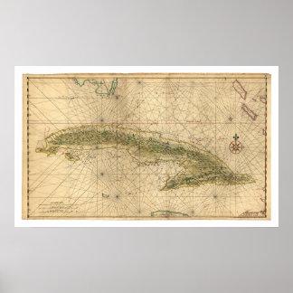 Isla temprana del mapa 1639 de Cuba Posters