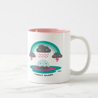 Isla triste 2 taza de café de dos colores