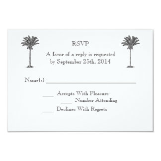 Isla tropical de la palmera formal que casa RSVP Invitación 8,9 X 12,7 Cm