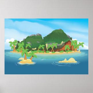 Isla tropical del tesoro poster