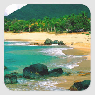 Isla tropical las orillas San Martín Pegatina Cuadrada