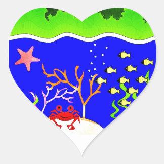 Isla tropical linda de Sealife Pegatina En Forma De Corazón