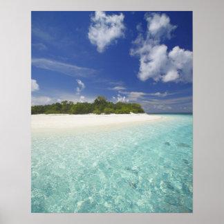 Isla tropical rodeada por la laguna Maldivas Impresiones