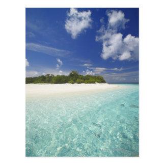 Isla tropical rodeada por la laguna, Maldivas, Tarjetas Postales