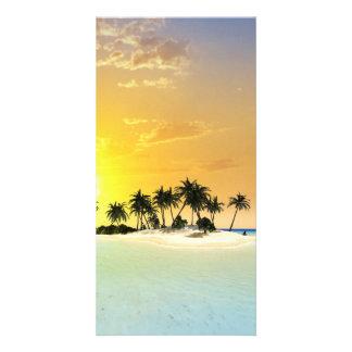 Isla tropical tarjeta fotográfica