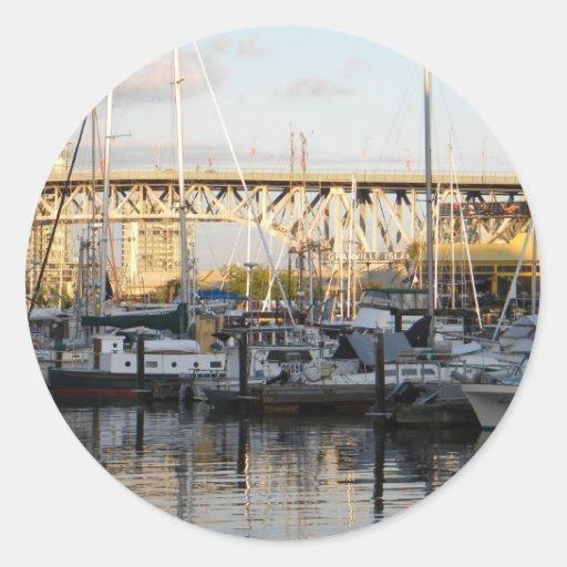 Isla Vancouver de Granville, A.C. Pegatina Redonda