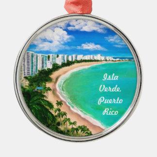 Isla Verde, Puerto Rico Adorno Redondo Plateado