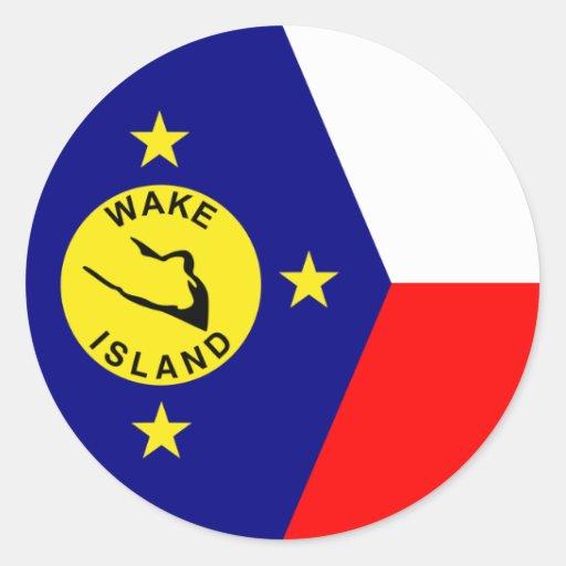 Isla Wake Pegatina Redonda