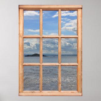 Isla y vista al mar de una ventana impresiones