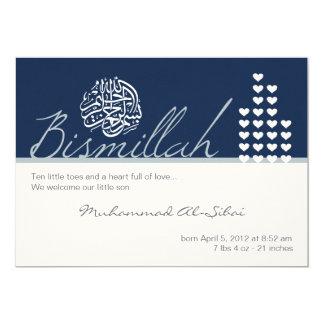 "Islam aqiqah aqeeqah invitation boy bismillah 5"" x 7"" invitation card"