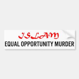 Islam Asesinato de la igualdad de oportunidades Etiqueta De Parachoque