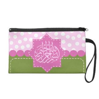 Islam Bismillah Arabic polka dot pink Islamic Wristlet Clutches