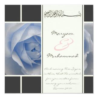 """Islam blue rose wedding engagement muslim invite 5.25"""" square invitation card"""