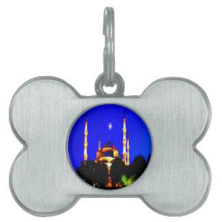 Islam de la religión de la mezquita de la mezquita placa de nombre de mascota