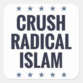 Islam del radical del agolpamiento pegatinas cuadradases