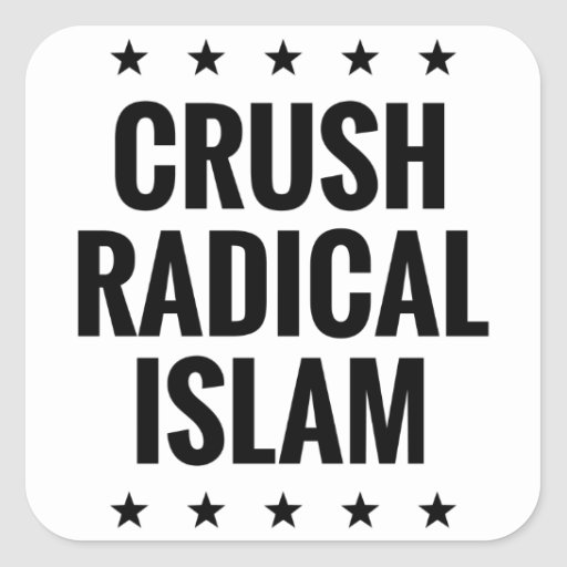 Islam del radical del agolpamiento pegatina cuadrada
