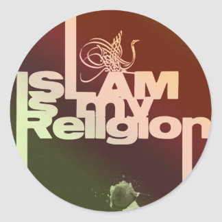 Islam is my Religion - Islamic  Arabic print Classic Round Sticker