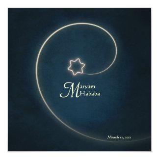Islam Islamic baby birth Aqiqah night star 5.25x5.25 Square Paper Invitation Card