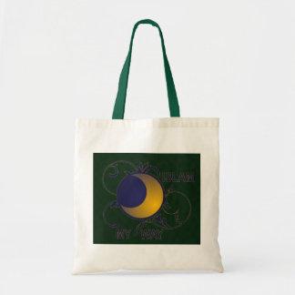 Islam my way ornate moon silhouette islamic tote bags