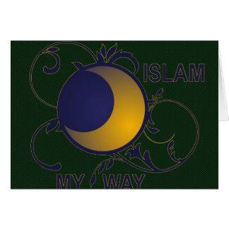 Islam my way ornate moon silhouette islamic greeting card