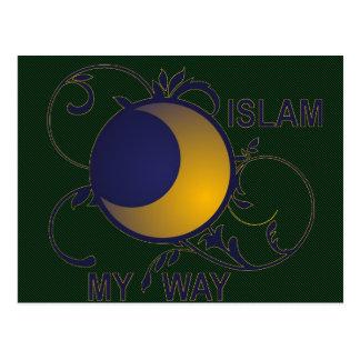 Islam my way ornate moon silhouette islamic postcard