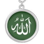 Islamic Allah Design Round Pendant Necklace