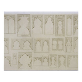 Islamic and Moorish arch designs for balconies, wi Poster