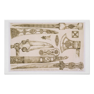 Islamic and Moorish designs for knife blades, from Posters