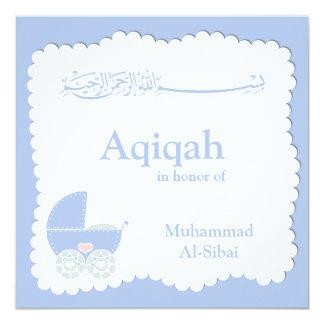 "Islamic Aqiqa baby invitation bismillah muslim 5.25"" Square Invitation Card"