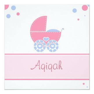 "Islamic Aqiqa invitation bismillah baby 5.25"" Square Invitation Card"