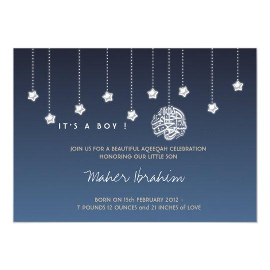 Aqiqah invitations announcements zazzle islamic aqiqah aqeeqah baby night sky star card stopboris Choice Image