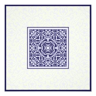 Islamic Arabic blue ornament engagement wedding Card