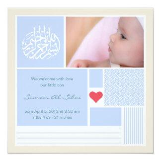 Islamic baby aqiqah announcement invitation boy