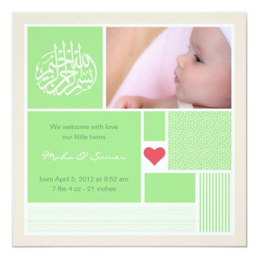 Islamic baby aqiqah announcement invitation twins