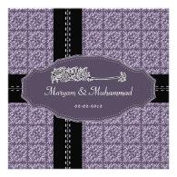 Islamic bismillah wedding engagement damask purple announcements