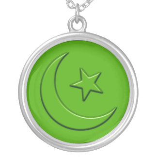 Islamic Embossed Moon & Star Round Pendant Necklace
