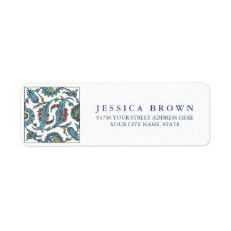 Islamic Floral Ceramic Tile return address label