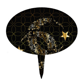 Islamic Floral Moon and Star Cake Topper