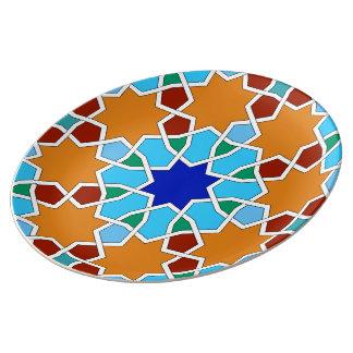 Islamic geometric pattern porcelain plate