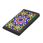 Islamic geometric patterns tri-fold wallet