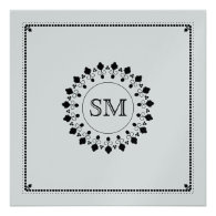 Islamic Islam silver monogram ornate wedding Personalized Announcement