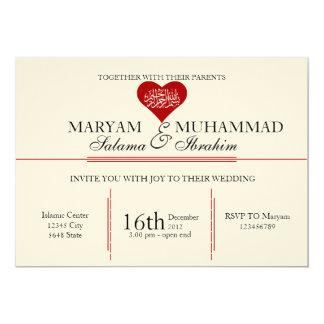 Islamic Islam vintage wedding engagement red heart 5x7 Paper Invitation Card