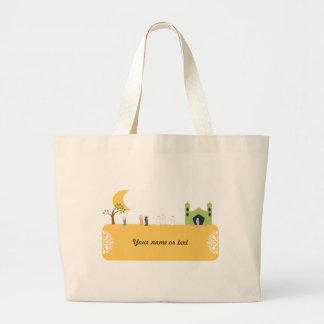Islamic mosque cartoon for muslim children large tote bag